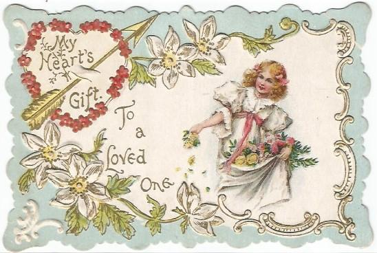 Die Cut Vintage Valentine Card Girl Spreading Rose Petals My Heart's Gift Poem