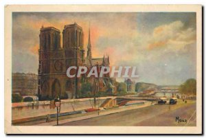 Old Postcard The Small Paintings of Paris Notre Dame and the Seine river view...
