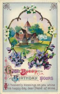 God Bless your birthday hours greetings postcard