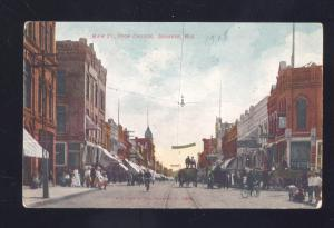 OSHKOSH WISCONSIN DOWNTOWN MAIN STREET SCENE ANTIQUE VINTAGE POSTCARD