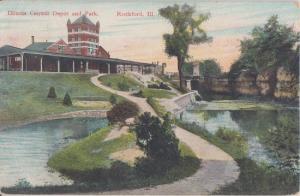 ROCKFORD IL - ILLINOIS CENTRAL RAILROAD DEPOT 1910 view / DEMOLISHED