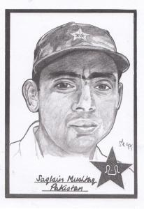 Saqlain Mushtaq Pakistan Cricket Artist Drawing Limited Edn of 500 Postcard