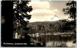 Diamond Lake, Oregon RPPC Postcard Mt. Thielsen View Patterson Photo 1935 Cancel