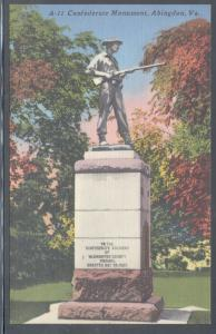 Virginia colour PC Confederate Monument Abingdon, unused