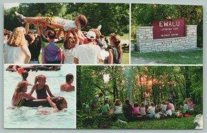 Strawberry Point Iowa~EWALU Lutheran Camp~4 Views~Swimming~Children~Sign~1990s
