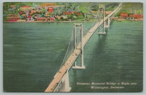 Wilmington Delaware~Memorial Bridge At Night~1940s Linen Postcard