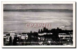 Old Postcard Evian Les Bains View of the Port and the Swiss Riviera