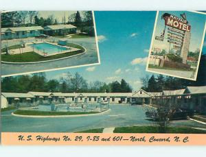 Unused Pre-1980 OLD CARS & MAYFAIR MOTEL & POOL North Concord NC u5703