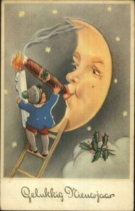 New Year Fantasy Man in the Moon Smoking Cigar Old Postcard