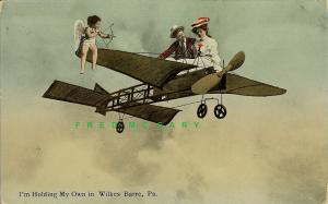 1911 Wilkes Barre Pennsylvania Fantasy Postcard: Cupid & Lovers - Rare