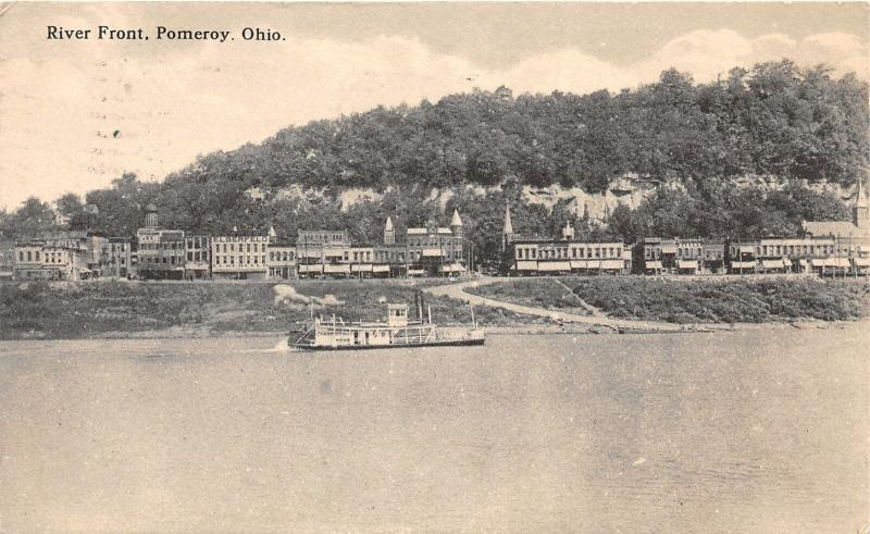 F28/ Pomeroy Ohio Postcard Meigs County 1914 River Front Steamer 3