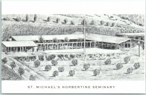 Orange, California Postcard ST. MICHAEL'S NORBERTINE SEMINARY Artist's View 1960