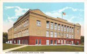 Grand Island Nebraska~US Flag Flies Over Walnut Junior High School 1920s PC
