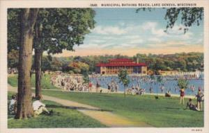 Wisconsin Lake Geneva Municipal Bathing Beach Curteich