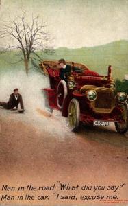 Bamforth No 1137 Man In The Road & Man In Car 1908
