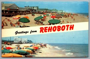 Postcard Rehoboth Beach DE c1970s Greetings from Rehoboth Beach CocaCola Sign