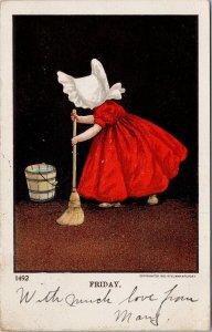 Friday Sun Bonnet Girl Mopping Floor Sun Bonnet Ullman #1492 Postcard G88