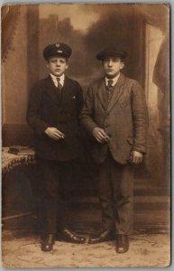 1910s RPPC Photo Postcard Two Young Men Smoking Cigarettes / Studio Portrait