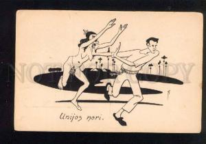 040410 Semi-NUDE WITCH catching Young MAN vintage ART DECO PC