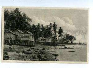 151567 SINGAPORE MALAY Houses Sea Shore Vintage postcard