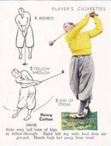 Player Vintage Cigarette Card Golf 1939 No 9 Drive Henry Cotton