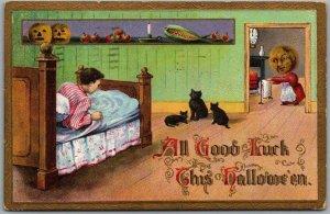 1910 HALLOWEEN Postcard All Good Luck Boy in Bed Cats Moon Mom GOTTSCHALK 2097
