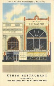 Atlantic City New Jersey~Kents Restaurant~Uptown~Art Deco Diner~1940s Postcard