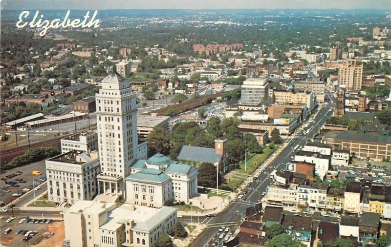 Elizabeth New Jersey~Air View Union County~Courthouse~Broad St.~Postcard