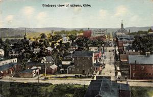 E80/ Athens County Ohio Postcard 1912 Birdseye View Stores Court House 5