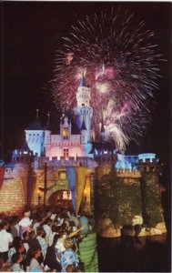 Anaheim CA -  fireworks over the castle at Disneyland, 1960s