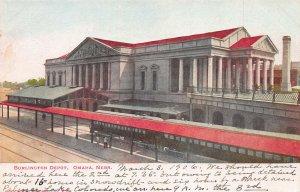 Burlington Depot, Omaha, Nebraska, Early Postcard, Used in 1906, with Message