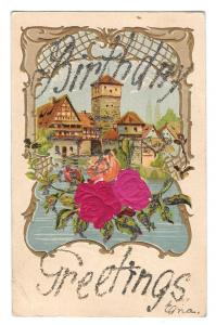 Birthday Greetings Glitter Silk Red Roses Vintage Postcard