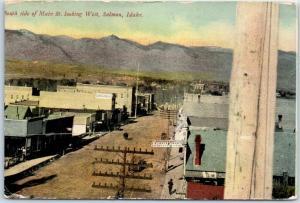 Salmon, Idaho Postcard South Side Main Street Looking West c1910s Unused