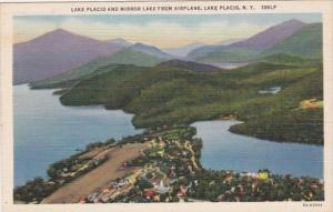 New York Lake Placid and Mirror Lake From Airplane Curteich
