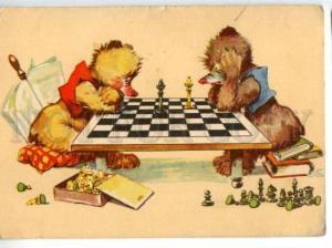 154688 CHESS Players TEDDY BEAR Comic Vintage postcard