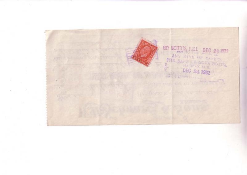 Custom Cheque from WH Scwartz & Sons, Halifax Nova Scotia Canada