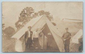 Postcard Ohio Cleveland City Guard Militia Encampment Mess Tent 1908 RPPC T5