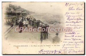 Old Postcard Villers sur Mer La Digue a Storm Day