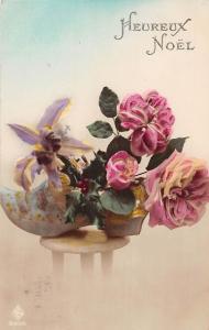 Heureux Noel, Christmas! Fantasy Flowers Mistletoe Shoe Good Luck! 1923