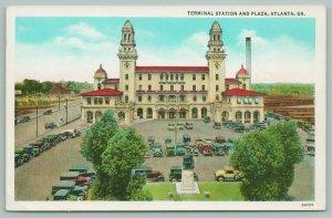 Atlanta Georgia~Terminal Station & Plaza Birdseye View~Monument Foreground~1920s