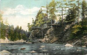 Concord New Hampshire~Contoocook River Park~Man On Observation Deck~1905 PC