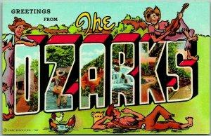 Vintage Greetings from the OZARKS Large Letter Postcard Hillbillies Linen