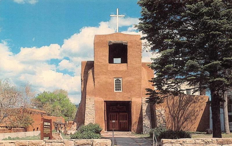 SANTA FE, NM New Mexico  SAN MIGUEL MISSION~Oldest Church in US  Chrome Postcard