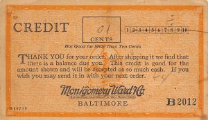Montgomery Ward Baltimore, MD, USA Advertising 1927 writing on front