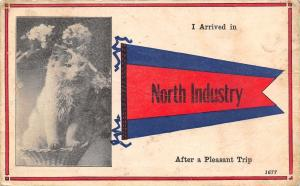 North Industry Ohio~I Arrived After Pleasant Trip~Cat in Basket~1914 Blue Cancel