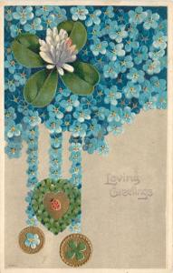 Lily Pad on Forget-Me-Nots~Tassels Hang Lady Bug~Shamrock~Gold~Emboss~Germany