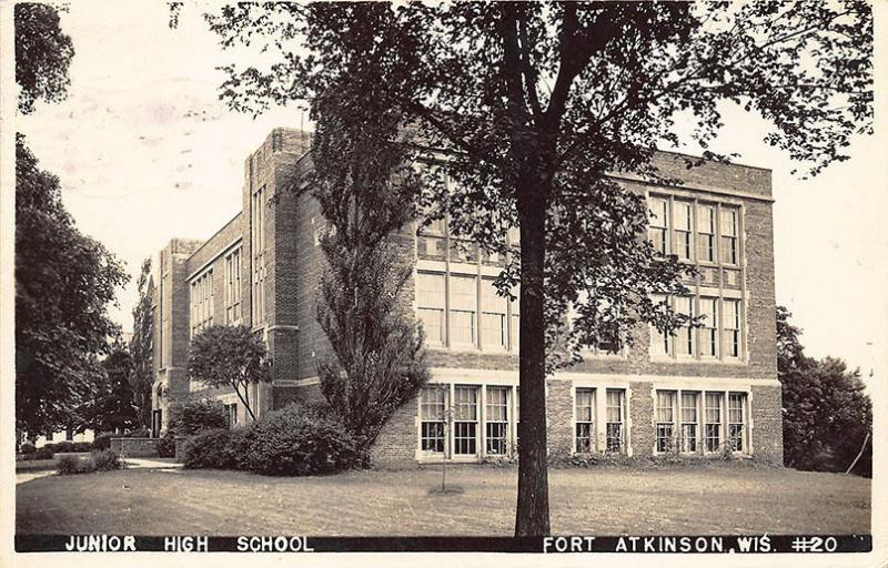 Atkinson WI Junior High School 1945 View Real Photo Postcard