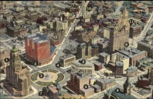 Buffalo NY Aerial View w/ Numbered Bldgs Key on Back Linen Postcard