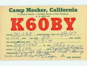 1957 Vintage Qsl Ham Radio Card Camp Meeker California CA t1747