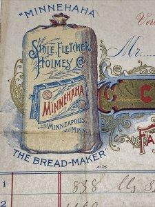 1897 Minnehaha Bread Maker SIDLE FLETCHER HOLMES Lehner Verona PA Billhead